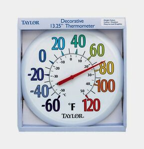 """New #6714 TAYLOR Large 13.25"""" EASY TO READ In/Outdoor Color Dial Thermometer F/C"""