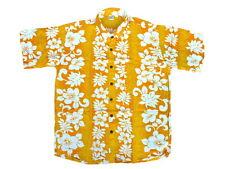 hawaiihemd Chemise de Hawaii jaune fleurs chaîne blanc