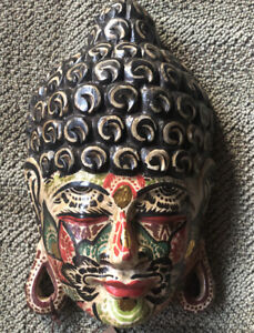 NWT Novica Flower Face Buddha Hand Carved & Painted Wood Mask Bali Wall Art