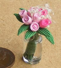 1:12 Scale Mixed Pink Tulips In A Glass Vase Tumdee Dolls House Accessory B