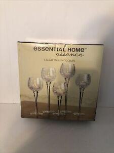 Essential Home Essenc 5 Glass Tea Light Goblets in Box