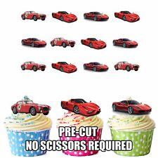 PRECUT Sport Cars Ferrari 12 Edible Cupcake Toppers Party Decorations Boys Mens