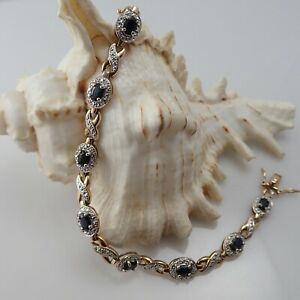 """Fine Ross Simons Blue Sapphire Gold Over Sterling Silver 7 1/2"""" Illusion Tennis"""