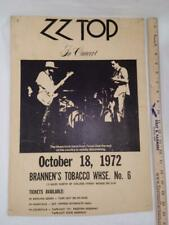 Wow~ 1972 Zz Top early Concert Poster ~Kentucky ~Very Nice Vintage Original