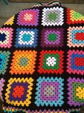 New Handmade Granny Square crochet blanket / Throw  Rainbow 🌈 34 in baby chair