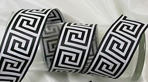"Jacquard Ribbon 2"" 50mm Greek Key Black & White or Color yourself 3 yds tjr1004"