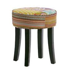 Hocker Sitzhocker Stoff Patchwork Füße Kolonial Möbel French Style 07.002.01