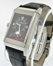 Jaeger LeCoultre JLC Grand Reverso Duo Date Silver / Black Dial Watch Q3748421 !
