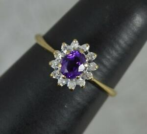Classic Vintage 9 Carat Gold Purple Amethyst and Diamond Cluster Ring
