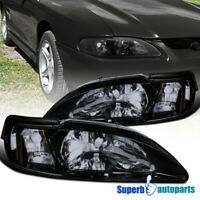 For 1994-1998 Ford Mustang GT/SVT Glossy Black Smoke Headlights+Corner Lamps