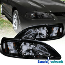 For 1994-1998 Ford Mustang Gt/Svt Glossy Black Smoke Headlights+Corner Lamps