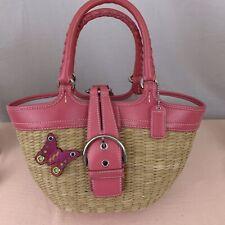 Coach Handbag Purse Satchel Bucket Natural Straw Basket Pink Model L3K-6270