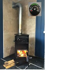 No1.BLACK WOODBURNING STOVE, WOOD LOG BURNER 2021 SOLID with a thermometer