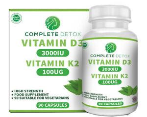 Vitamin D3 and K2 3000IU 100ug 90 Capsules Cholecalciferol MK-7 Complete Detox