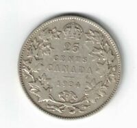 CANADA 1934 TWENTY FIVE CENTS QUARTER KING GEORGE V .800 SILVER CANADIAN COIN