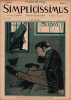 1897 Simplicissimus - Art Nouveau Billiards, , Extremely Rare