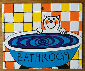 BATHROOM cat porcelain enamel sign