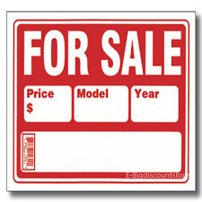 """AUTO FOR SALE 9""""X12"""" PLASTIC SIGN WRITE IN BLOCKS FOR PRICE MODEL YEAR Brand New"""