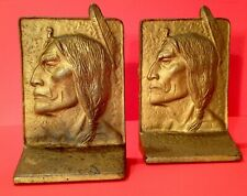 Vintage 1920's Native American Indian Chief Sitting Bull Cast Iron Bookends NICE