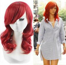 Rihanna Hairstyle Natural Synthetic Red Hair Medium Curly Heat Ok No Lace Wig#03