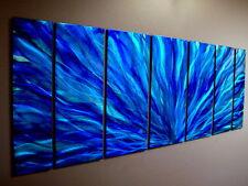 Modern Abstract Hand Painted Metal Wall Art Decor - Blue Plumage by Jon Allen