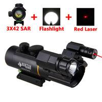 Tactical Riflescope 3X42 Magnification Red Dot Optics Sight Scope 11/20mm Rail