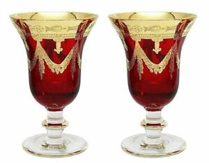 Set of 2 Interglass Italy Crystal Glasses - Ruby Red Italian Wine Goblets
