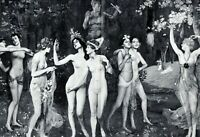 Der Liebesgarten XL Kunstdruck 1907 Hierl-Deronco weiblicher Akt lesbische Liebe