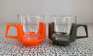 60s 70s Vintage Retro Red Plastic Pyrex Glass Drinkups Mugs Cups Camping Picnic