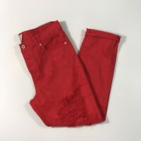 Lucky Brand Red Super Distressed Sienna Slim Boyfriend Denim Jeans Womens Size 6