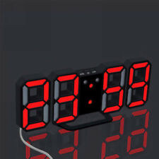 3D Modern Digital LED Table Desk Night Wall Clock Alarm Watch 24/12 Hour Display