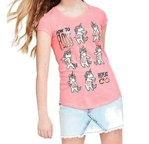 Justice Girls Unicorn How to Floss Tee Top Graphic T-Shirt Short Sleeve NWT 12
