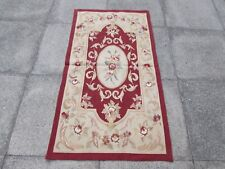 Old hand made design francese Lana Maroon Rosso ORIGINALE Aubusson 145X80cm 5x3