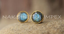 Natural Labradorite 10mm Round Faceted Vermeil Studs Earrings