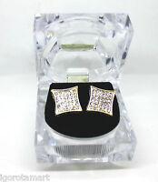 Gold Finished Square Ear Stud Studs Earrings Punk Large Gift Box Men Women