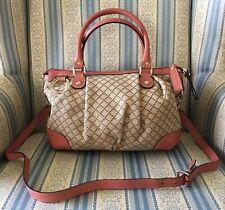 Gucci Diamante Logo Beige Canvas Pink Leather Shoulder Strap Handbag Purse