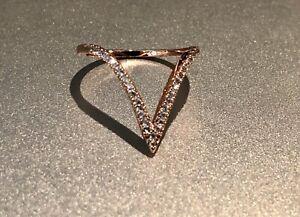18k Rose Gold GP Ring made w/ Swarovski Crystal Pave Stone Gorgeous V Shape Ring