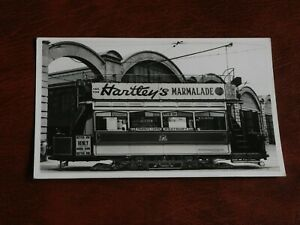 ORIGINAL REAL PHOTO POSTCARD - BRISLINGTON DEPOT - TRAM - HARTLEY'S MARMALADE.
