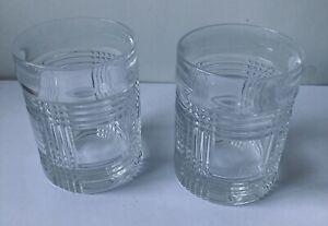 "Ralph Lauren Glen Plaid Double Old Fashioned Glasses 4 1/8"" Set of 2"