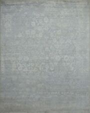 8'x10' Rug | Hand Made  Hand Knotted Wool & Viscose  Gray  White  Area Rug