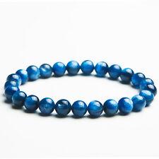 Genuine Natural Blue Kyanite Cat Eye Crystal Beads Stretch Bracelet 7mm AAA