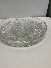 Cut Glass 5 Section Snack Dish 10 Inch