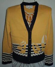 St. John Santana Knit Yellow Boat Cardigan Sweater  P