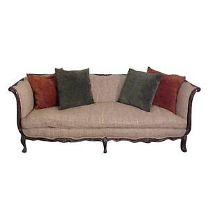 Chic French Country Walnut Sofa Tussah Silk Upholstery with Provenance ON SALE