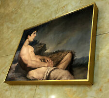 """Framed art prints canvas transfer from oil painting sittting men nude male12x16"""""""
