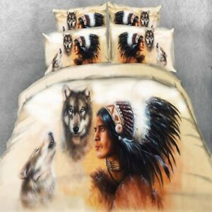 Milsleep Bedding Sets 3D Home Textile Indian And Wolf Print Quilt Cover