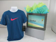 Nike Girls TShirt Dri Fit Graphic Sportswear Blue T-Shirt Tee Size Small (8) NWT