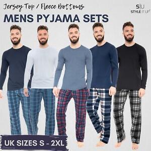 Mens Long Sleeve Pyjamas set Cotton Rich Top Brushed Fleece bottoms Top Pant PJs