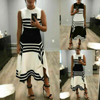 White and Black Women Sleeveless Bodycon Fit&Flare Cocktail Party Long Dress