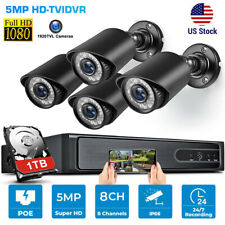 8Ch Dvr 5Mp 1080P Home Security Camera System Kit Cctv Outdoor + 1Tb Hard Drive